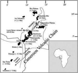 Map of Cameroon Volcanic Line (CVL) region