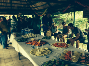 Welcomed with a beautiful feast of fruits and other delicacies.