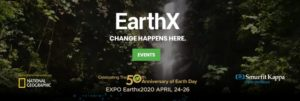 EarthX2020 Expo banner, dates April 24-26
